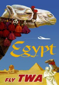 Vintage Travel Poster Fly TWA Egypt